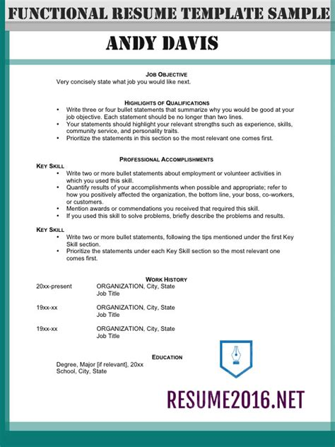 Resume Template Highlighting Skills Functional Resume Format 2016 How To Highlight Skills