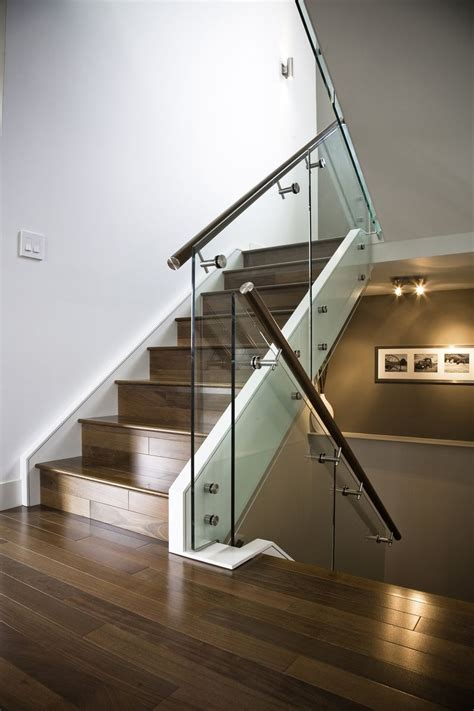 glass stair banister hand made maple stair with glass railing and stainless