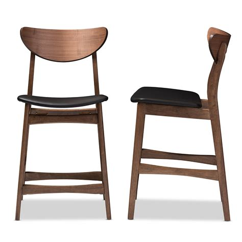 24 inch high bar stools studio black leather counter height bar baxton studio latina mid century retro modern scandinavian