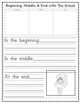 beginning middle end writing paper grinch beginning middle end writing by musical teach tpt