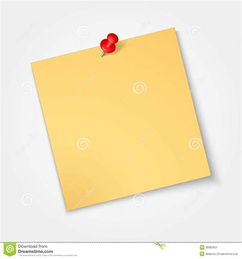printable sticker paper office max note paper sticker with red pin isolated stock vector