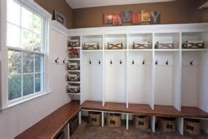 Circular Chair Mudroom Lockers With Black Walnut Bench Top And White