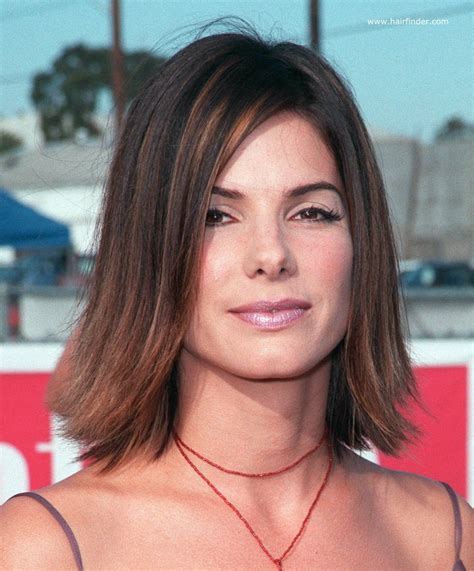 medium long flipped hair sandra bullock youthful medium length hairstyle with