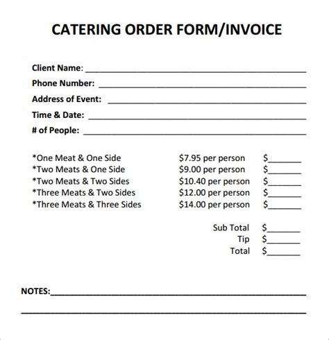 16 Catering Invoice Sles Sle Templates Catering Order Form Template Word