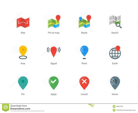 design navigation icon size map gps and navigation color icons on white stock vector