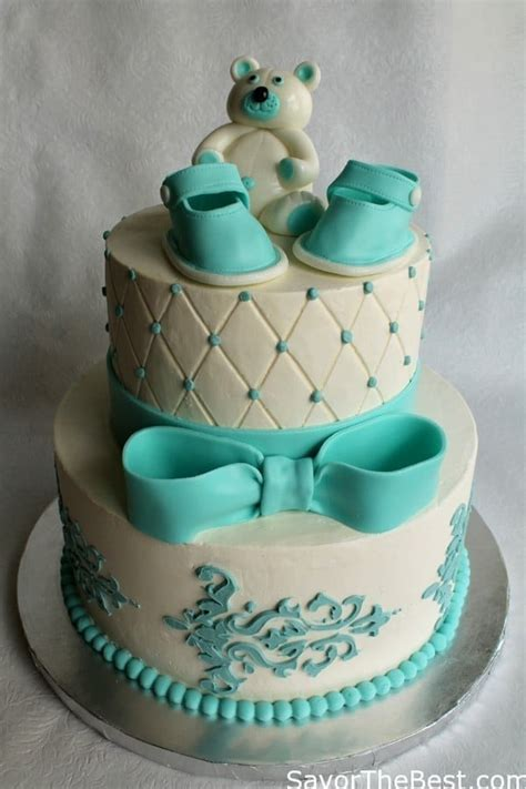 Fondant Baby Shower Cake by Baby Shower Cake Design With Fondant Baby Shoes And Teddy