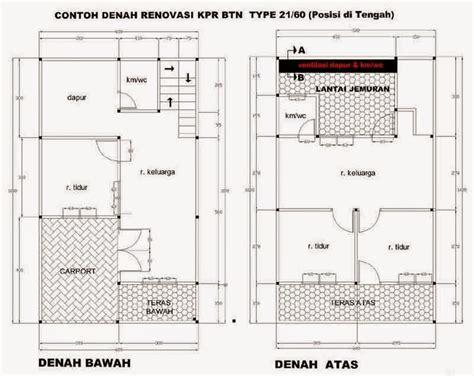 detail contoh denah rumah minimalis type 21 paling lengkap