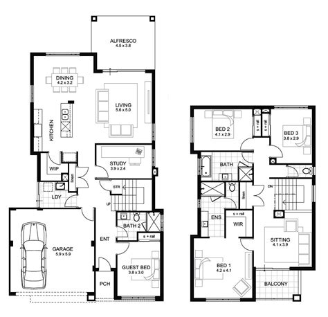 two story house blueprints storey 4 bedroom house designs perth apg homes