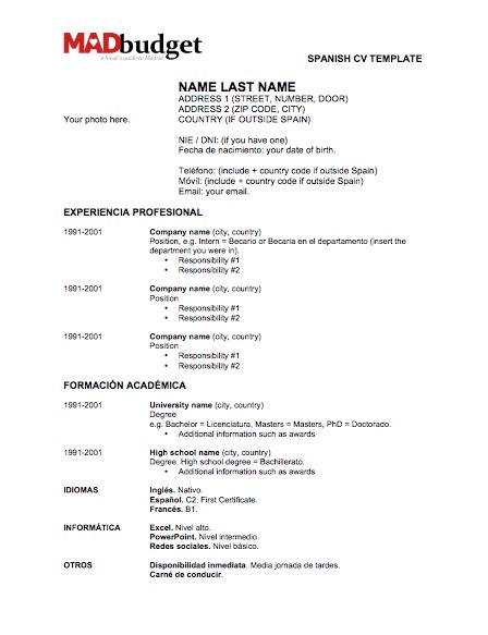 resume format resume templates in spanish