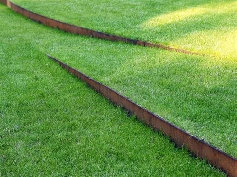 lawn with corten steel edging landscape design pinterest
