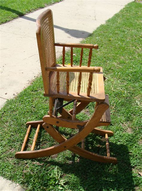 Childs Chair - vintage child s high chair rocker rocking adjustable oak