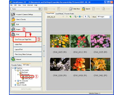 zoombrowser layout print printing images with dates