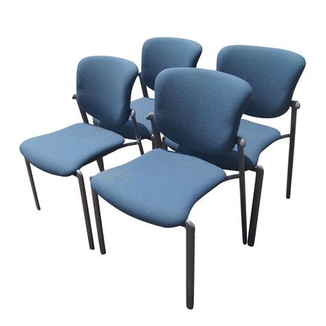 (4) Haworth Improv Seating Blue Stacking Side Chairs   eBay