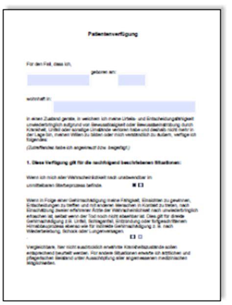 Vorlagen Patientenverf Gung Muster patientenverf 252 gung muster schreiben vorlage beispiele