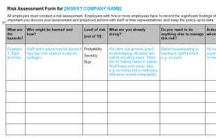 risk assessment form template bizorb