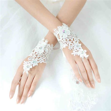 Rhinestone Wedding Gloves lace fingerless wrist length with rhinestone wedding