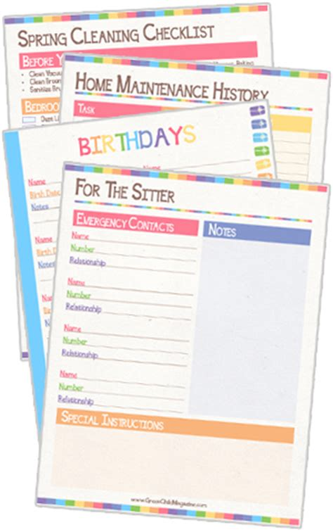 home organization sheets free printable