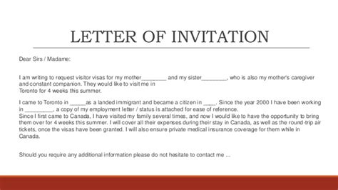 Invitation Letter Exle Canada Application Letter For Visa Check Out Application Letter