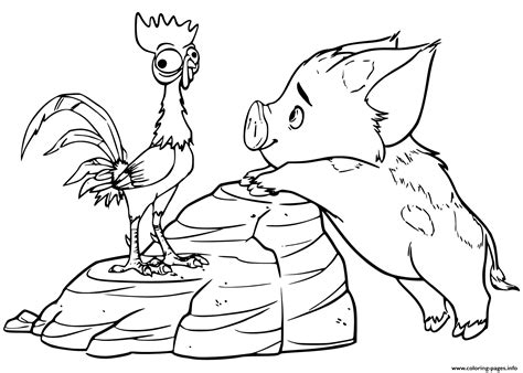 Pua Pet Pig Moana Coloring Pages Printable Coloring Pages Moana