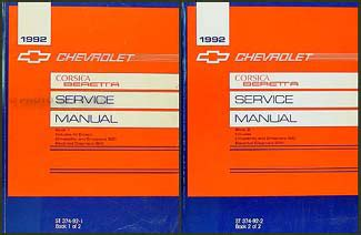 vehicle repair manual 1992 chevrolet corsica on board diagnostic system 1992 chevy corsica beretta repair shop manual original 2 volume set
