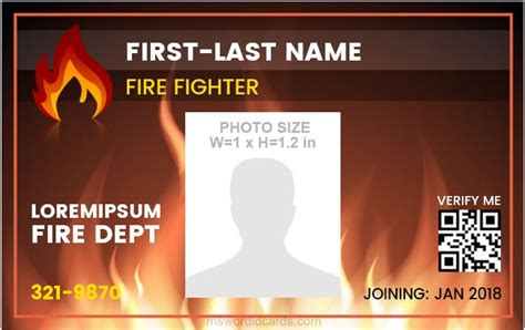 firefighter id cards template department employees id cards microsoft word id