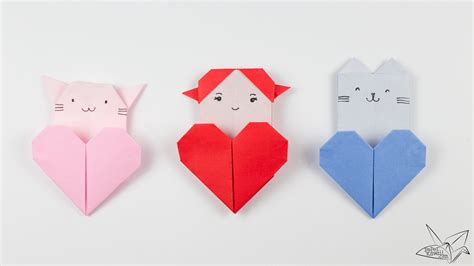 Origami Haert - origami cat tutorial origami pocket paper kawaii