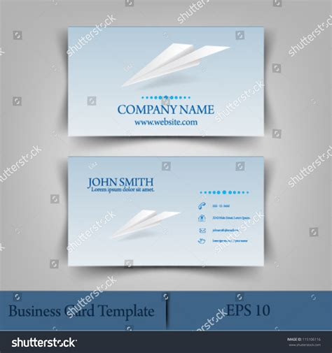 origami business card template eps10 vector illustration abstract origami plane stock