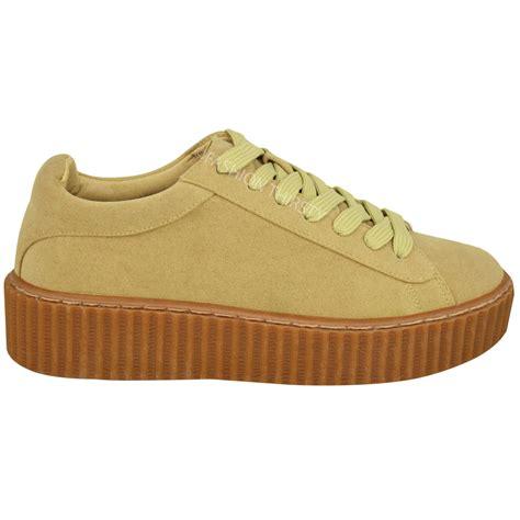 creeper shoes womens flat platform wedge lace up