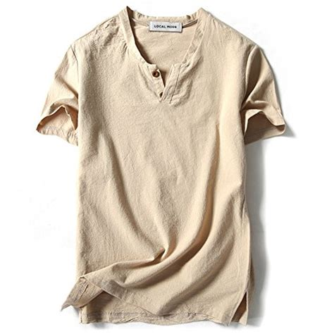 Linen Cotton Sleeve Shirt localmode linen and cotton v neck sleeve t