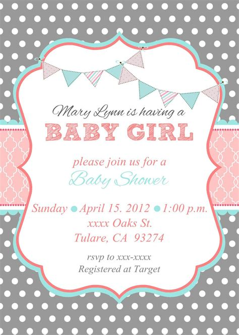 free templates for baby shower invitations girl loca date time line about diaper raffle spa prize