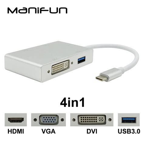 Usb 3 1 Type C To Vga usb c type c to hdmi vga dvi usb3 0 adapter 4in1 usb 3 1 usb c converter cable for laptop apple