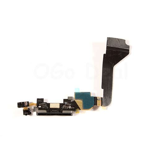 Connector Charger Iphone 4g Ori original charging port dock flex cable for iphone 4 black replacement wholesale ogo deal