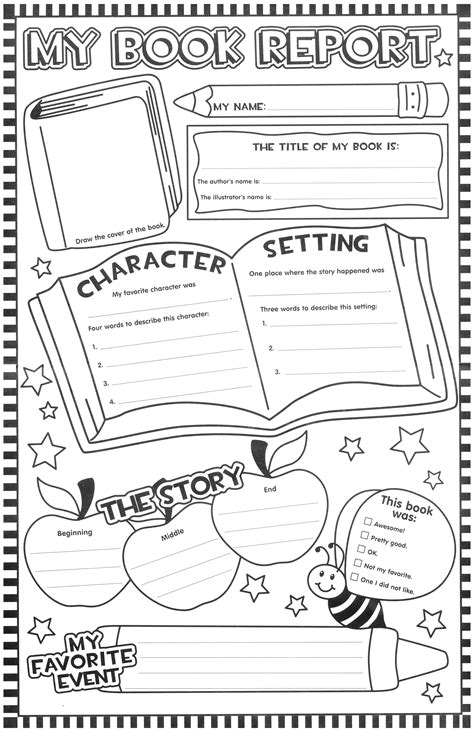 one page book report template book report squarehead teachers
