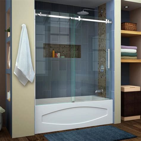 How To Install Shower Door On Tub Shop Dreamline Enigma Air 60 In W X 62 In H Frameless Bathtub Door At Lowes