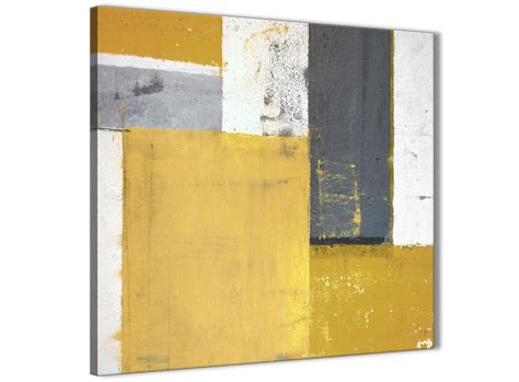 superb Over The Bed Wall Art #3: 340-1sl-modern-mustard-yellow-grey-abstract-painting-canvas-wall-art-print-modern-79cm-square-for-your-dining-room.jpg