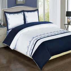 California King Size Comforters Amalia Navy Embroidered Duvet Cover Set Ebay