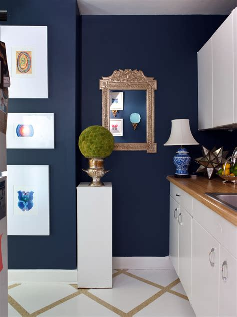 blue walls in kitchen white and navy blue kitchen eclectic kitchen sara