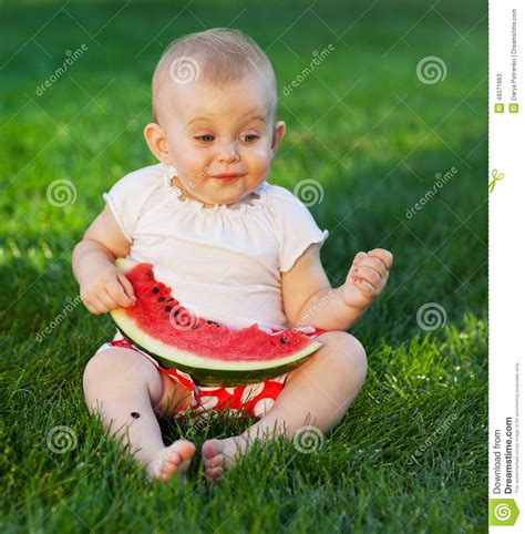 Jumping Beans Gir Watermelon Pink 2d happy baby with slice of watermelon stock photo image 49371863