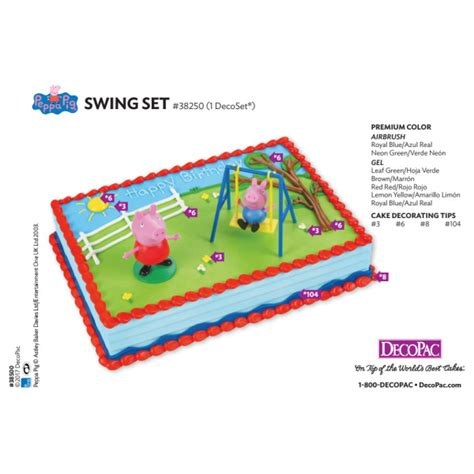 peppa pig swing peppa pig swing set cake decorating card