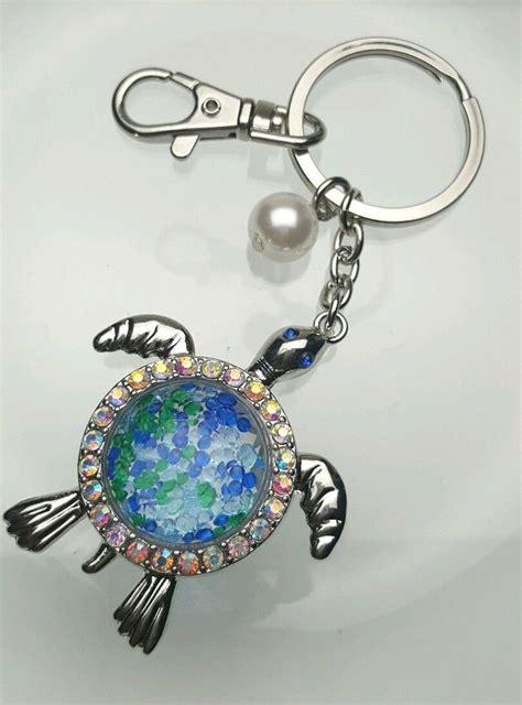 Rhinestone Silver Chain Ring silver tone sea turtle key chain ring purse charm