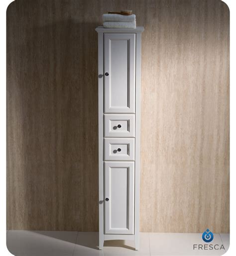 white bathroom linen cabinet fresca fst2060aw oxford antique white tall bathroom linen cabinet