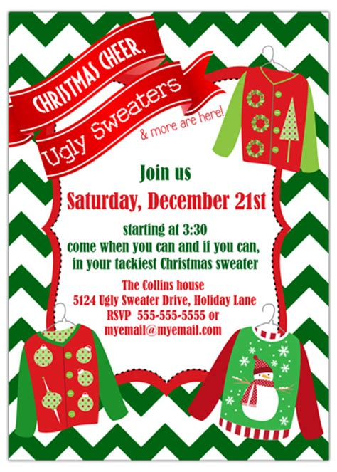 party invitations ugly sweater christmas party