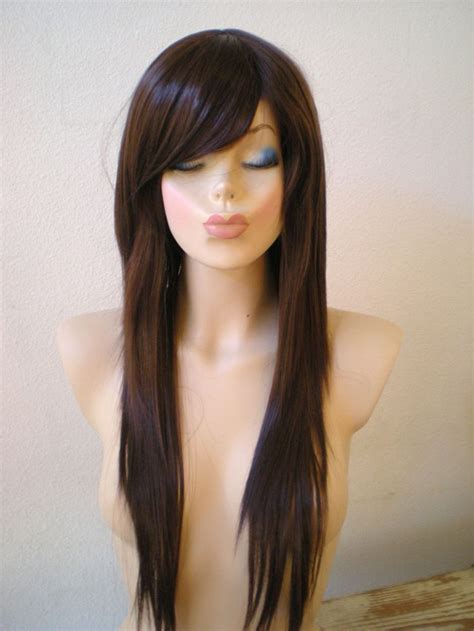 cut and style side bangs hair sale chocolate brown wig heat resistant long