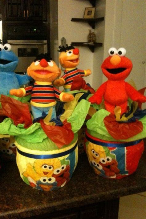 sesame street centerpiece hunters second birthday party