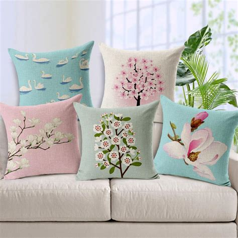 Shafiyyah Sarban Sarung Bantal Sofa Cushion 40x40 100 painting pastoral pink flora tree blossom pillow cover swan flowers cushion covers