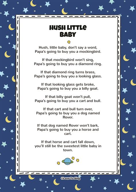 printable lullaby lyrics hush little baby kids video song with free lyrics