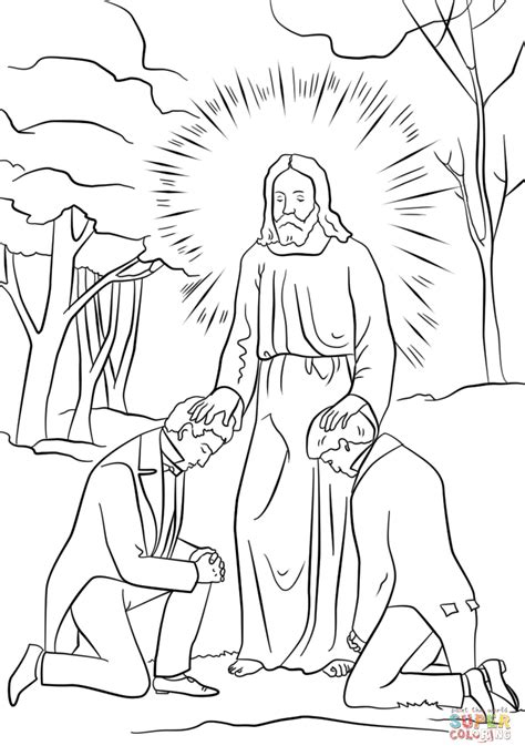 lds coloring pages joseph smith joseph smith and oliver cowdery receiving priesthood