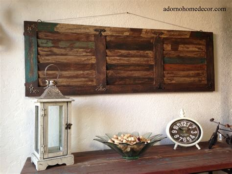 idea for wood metal mix decorations details about rustic wood wall panel distressed shutter