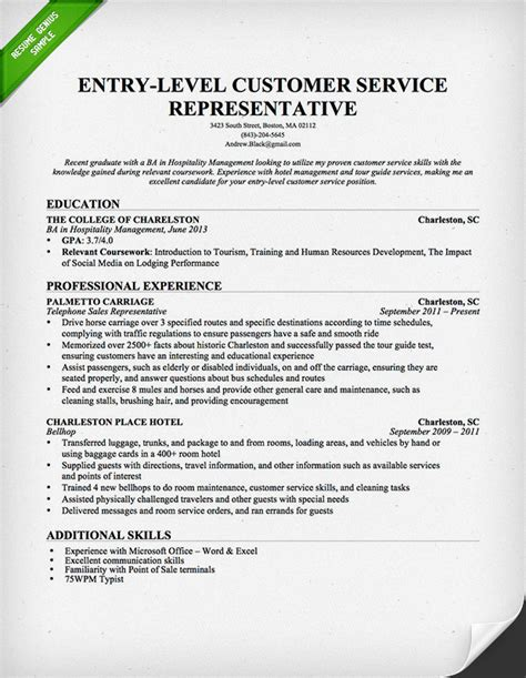 Resume Templates For Customer Service Representatives by Entry Level Customer Service Representative Resume