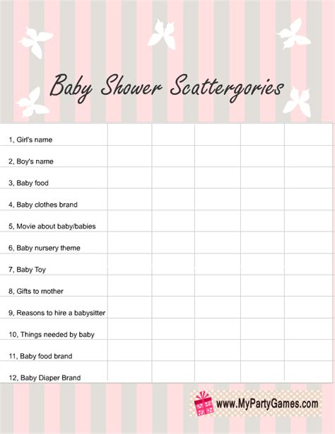 list of for baby shower free printable baby shower scattergories for boy and